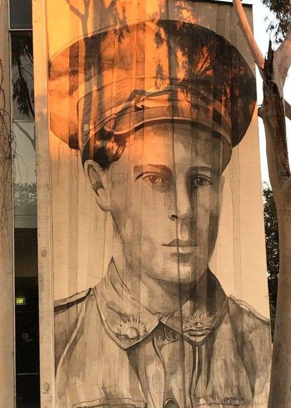 The mural of Private Daniel Cooper acknowledges the contribution of local Aboriginal people in military service for the nation.
